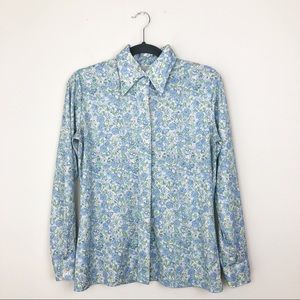 Vintage 60's Polyester Baby Blue Floral Button Up